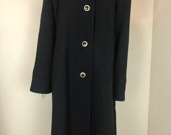 Vintage 1970's Charles Klein Black Wool Coat w/ Leopard Print Trim, Size M/L