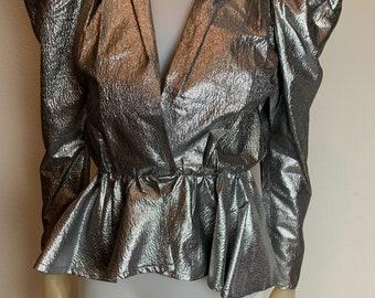 Vintage 1970's Metallic Silver Disco Peplum Blouse Jacket, Size 3/4 or S