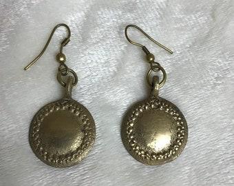 SALE Vintage 1970's Brass Gold Circle Hook Earrings