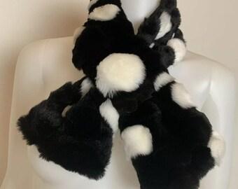 Vintage 1990's Black & White Faux Fur Spotted Pattern Neck Scarf, OSFM