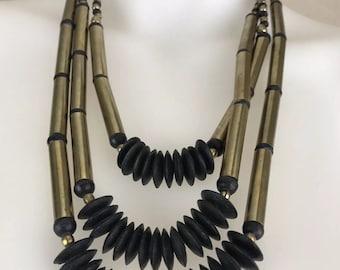 Vintage 1970's Rustic Gold Metal & Black Wood Beaded Necklace