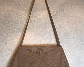 SALE Vintage 1970's Tan Ultra Suede Shoulder Strap Purse