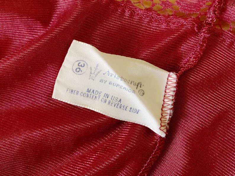 One Piece Romper Onesie Medium Vintage Aristocraft Cranberry Color Teddy Size 36 Lace Snap Crotch Maroon Vintage Lingerie