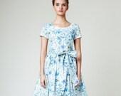 Women Dress, Floral Dress, Midi Dress, Blue Wedding Dress, Bridesmaid Dress, 1950's Dress, Vintage Style Dress, Liberty Print,Cocktail Dress