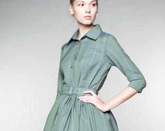 Wool Shirt Dress, Midi Dress, Retro Dress, Shirt Dress, 1950's Dress, Vintage Style Dress, Collared Dress, Pocket Dress, Green Dress, Flare