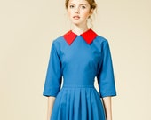 Women Dress, Royal Blue Dress, Collar Dress, 1950's Dress, Retro Dress, Vintage Style Dress, Plus Size Dress, Flare Dress, Mod Dress