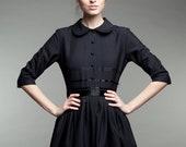 Dress For Women, Wool Dress, Winter Black Dress, Audrey Hepburn Dress, 1950's Dress, Shirt Dress, Cocktail Dress, Little Black Dress,Elegant