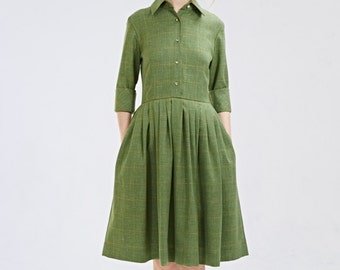 Green wool dress Elegant wool dress Bespoke dress Mother of bride dress 1950s dress Plus size dress Dress with pockets and cuffs Handmade