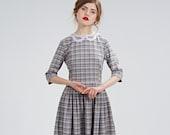 Plaid Dress, Wool Dress, Lace Collar Dress, 1950's Dress, Midi Dress, Vintage Style Dress, Retro Dress,Flare Dress, Pleated Dress, Office