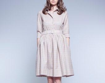 1950s dress Beige dress Shirt dress Wool dress Womens dresses Ladies dress Mod dress Checkered dress Belted dress with pockets Handmade