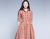 Dress For Women, Plaid Dress, 1950's Dress, Collar Dress, Flare Dress, Secretary Dress, Vintage Style Dress, Circle Dress, Tartan Dress