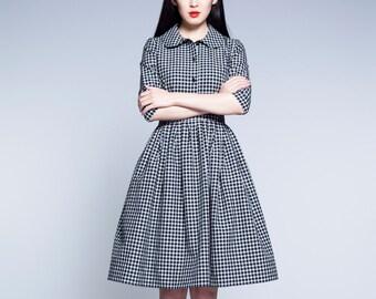 Black and white dress 1950s dress Peter pan collar dress Gingham dress 50s dress Plus size dress Full skirt dress Dress with pockets