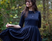 Navy wool pleated midi dress for women with Peter Pan collar great for winter in sizes XS - XXL