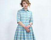 Women Blue Dress, Linen Dress, Collar Dress, 1950's Dress, Plaid Dress, Vintage Style Dress, Pleated Dress, Swing Dress, Retro Dress, Shirt