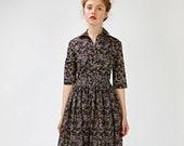 Women Midi Dress, 1950's Dress, Flare Dress, Shirt Dress, Pleated Dress, Collar Dress, Vintage Style Dress, Mad Man Dress, Bridesmaid Dress