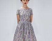 Liberty Print Dress, 1950's Dress, Vintage Wedding Dress, Floral Dress, Summer Dress, Flare Dress, Bridesmaid Dress, Cocktail Dress, Pocket