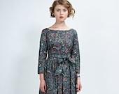 Dress For Women, 1950's Dress, Flare Dress, Belt Dress, Floral Dress, Vintage Style Dress, Midi Dress, Retro Dress, Floral Bridesmaid Dress
