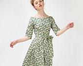 Women Midi Dress, Green Dress, Bridesmaid Dress, Floral Dress, 1950's Dress, Laura Ashley Dress, VLV Dress,Vintage Style Dress,Wedding Guest