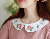 Detachable collar with hand stitch rose embroidery - Peter Pan removable embroidered collars for women - Floral 1950s vintage style clothes
