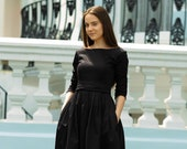 Little black dress - Modest cotton pleated dresses with bow and pockets for women available in different custom colors by Mrspomeranz