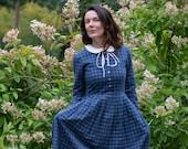 Linen Gingham Dress, Peter Pan Collar Dress, Amish Linen Dress, Puritan Dress, Linen Collar Dress, Shirt Linen Dress, Linen Clothing, Flare
