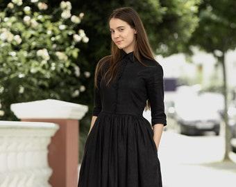 Black linen shirt dress - Modest simple minimalist dresses with pockets by Mrspomeranz