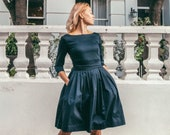 Navy blue cotton midi pleated dress for women in plus size perfect for winter and holidays available in 3 colors