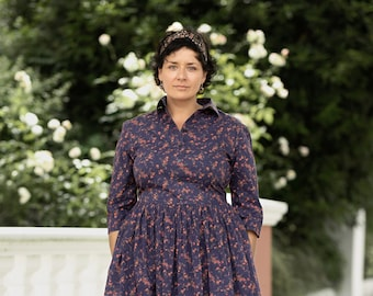 Liberty print plus size dress - Tana lawn shirt dresses - Purple floral 1950s style gown by mrspomeranz
