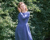 Long Sleeves Linen Dress, Plus Size Linen Dress, Pleated Dress, Linen Midi Dress, Dress For Women, Church Dress, Minimalist Dress, Puritan