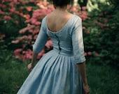 Simple Wedding Dress, Blue Linen Dress, Linen Clothing, Midi Women Dress, Linen Dress, Retro Wedding Dress, Linen Dress, Winter Wedding