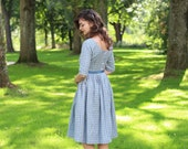 1950's Dress, Casual Wedding Dress, Blue Linen Dress, Pin Up Dress, Cocktail Dress, Swing Dress, Plus Size Clothing, Party Dress, Pleated