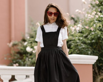 Linen pinafore apron dress - Black overall dresses - Open cross back aprons for women with pockets