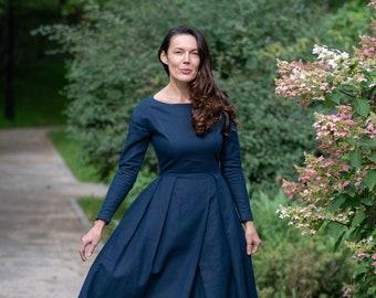 Navy Blue Dress, Modest Linen Dress, Women Linen Dress, Linen Prairie Dress, Linen Pleated Dress, Long Sleeves Dress, Linen Clothing, Amish