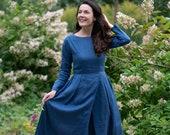 Blue Linen Maxi Dress, Pleated Linen Dress, Peasant Dress, Modest Linen Dress, Winter Linen Dress, Long Sleeves Dress, Plus Size Dress