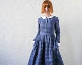Linen Shirt Dress, Gingham Dress, Peter Pan Collar Dress, Little Women Dress, Vintage Style Dress,Linen Retro Dress,Cuff Sleeve Modest Dress
