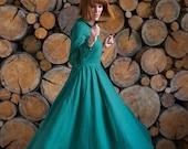 Women Linen Dress, Collar House Dress, Teal Lounge Dress, Long Sleeve Dress, Linen Clothing, Linen Maxi Dress, Plus Size Linen, Flare Dress
