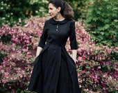 Black Shirt Dress, Peter Pan Dress, Collar Dress, Winter Midi Dress, A Line Dress, Pockets Dress, Church Dress,Flare Dress,Plain Black Dress