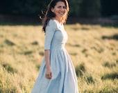 1950's Dress, Boho Wedding Dress, Blue Linen Dress, Linen Wedding Dress, Prairie Dress, Plus Size Clothing, Prairie Dress, Fall Linen Dress