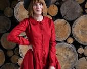 Linen Shirt Dress, Flare Dress, Linen Red Dress, Pocket Lounge Dress, Collar House Dress, Linen Dress, Little Women Dress, Linen Clothing