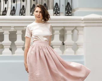 Pink linen midi high waist skirt - Long front button skirts with pockets - Buttoned opening clothing
