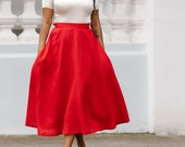 Bright red linen midi skirt - Full circle long high waist skirts with pockets by Mrspomeranz