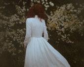 Modest wedding dress - White linen bridal gown - Simple minimalist clothing