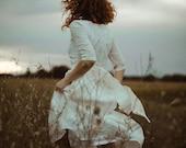 Modest Wedding Dress, Simple Wedding Dress, Linen Clothing, Alternative Wedding Dress, Linen Clothes, White Bridal Dress, Winter Wedding