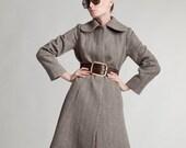 Wool Coat, Belt Coat, Princess Coat, Gray Coat, 1960's Clothing, Winter Coat, Jacket Coat, Winter Clothing, Extravagant Coat, Wool Clothing