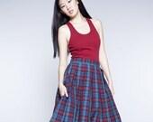 Plaid Skirt, Midi Skirt, 1950's Skirt, Tartan Skirt, Flare Skirt, Vintage Style Skirt, High Waist Skirt, Retro Skirt, Pocket Skirt, Cotton