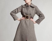 Gray Wool Coat, Belt Coat, Princess Wool Coat, Women Elegant Coat, 1960's Clothing, Winter Coat, Extravagant Coat, Winter Wool Clothing
