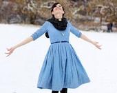Winter Wedding Dress, Linen Midi Dress, Linen Clothing, Blue Women Dress, Cotton Dress, Simple Wedding Dress, Pleated Dress, Pocket Dress