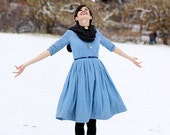 Simple Wedding Dress, Midi Dress, Linen Dress, Blue Women Dress, Cotton Dress, Casual Wedding Dress, Pleated Dress,Pocket Dress,Winter Dress