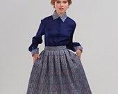 Flare Skirt, 1950's Skirt, Liberty Print Skirt, Plaid Skirt, Pleated Skirt, Vintage Style Skirt, Full Skirt, Cotton Skirt, Midi Skirt