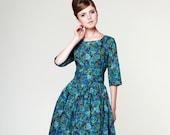 Women Blue Dress, 1950's Dress, Bridesmaid Dress, Midi Dress, Floral Dress, Swing Dress, Vintage Style Dress, Plus Size Dress, Retro Dress